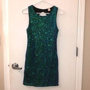  H&M Green/Blue Sequin Dress